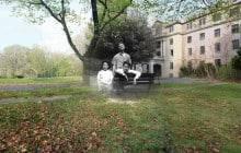 Composite photograph of Guthrie family members at Greystone Park State Hospital, 1959-2002.