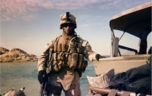 Sgt Keefe patrolling on the Euphrates River north of Haditha, Iraq 2007