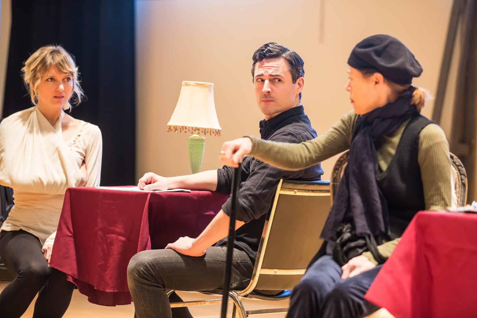 (l-r) Susannah Hoffman, Max Von Essen, and Veanne Cox in reherasals for Murder on the Orient Express. Photo by Matt Pilsner sm