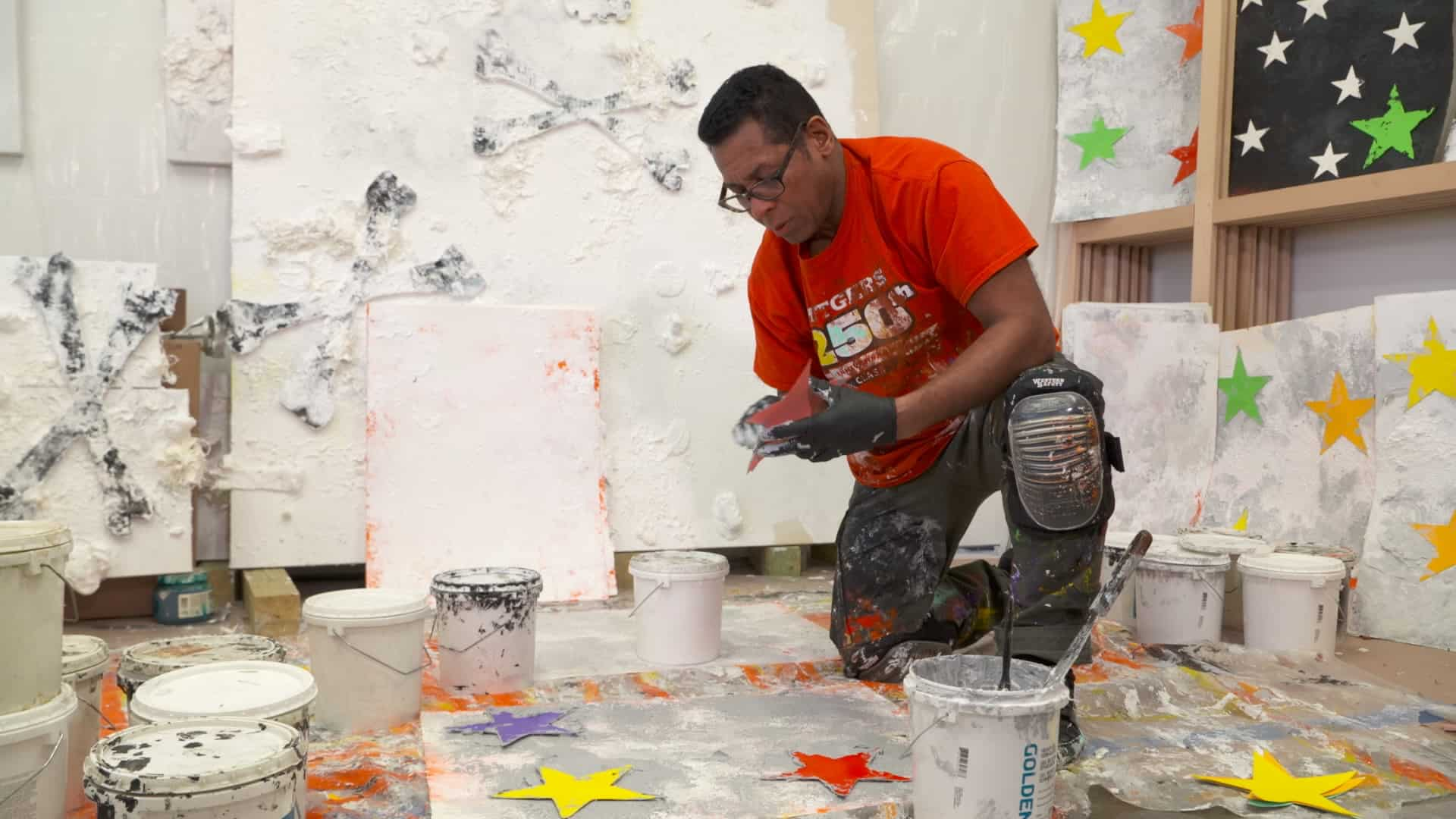 German Pitre working in his Express Newark studio